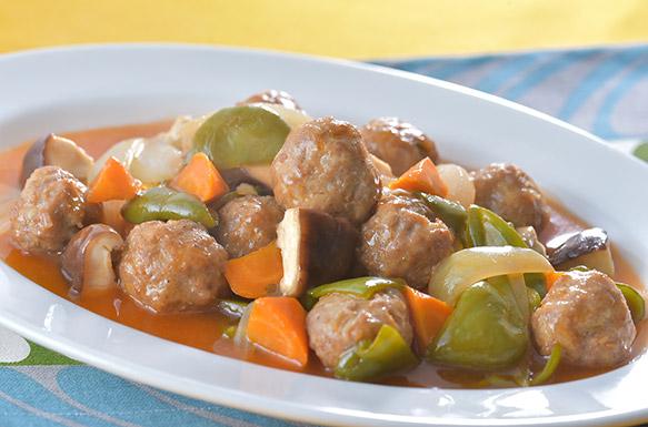 今週のうどんレシピ「肉団子の酢豚風」