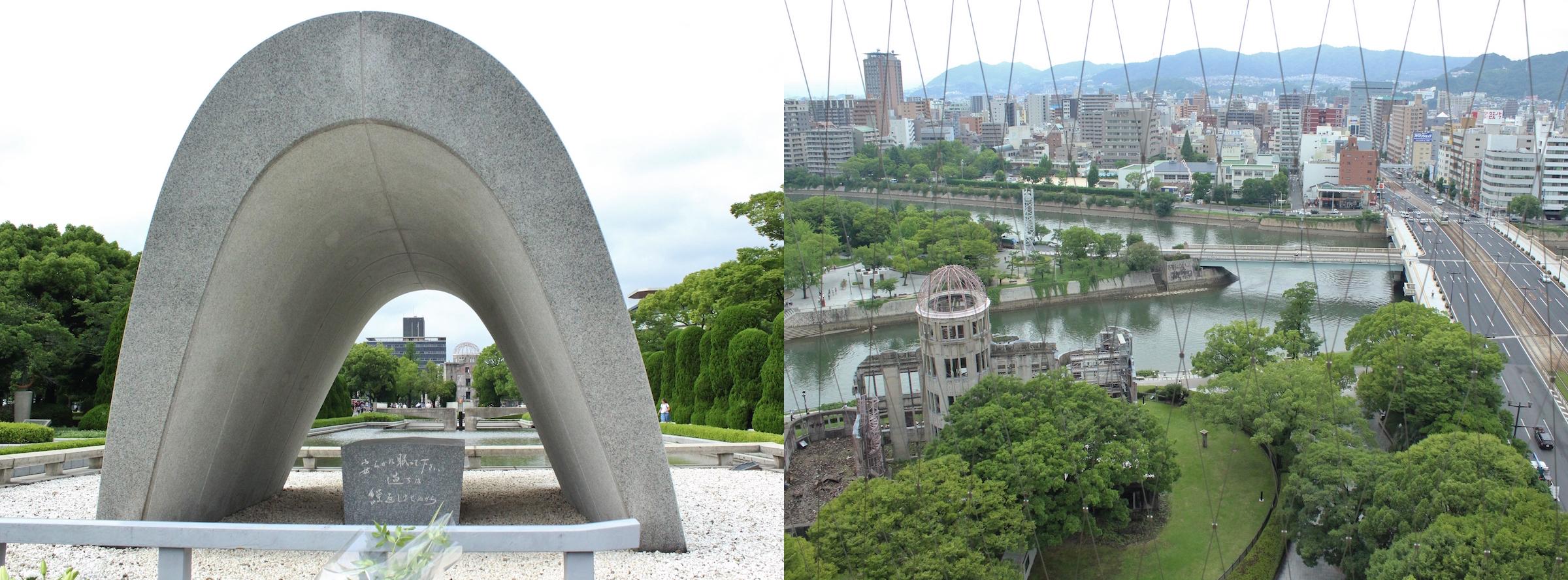 平和公園の中心に立つ原爆死没者慰霊碑。その先にに原爆ドームが見える(左)。7月11日にオープンしたおりづるタワー。最上階からは原爆ドームと投下目標となった相生橋などを俯瞰し、今までとは異なる原爆投下の様子が実感できるようになった