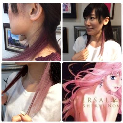 ▲シェリルをテーマに髪の内側にピンクを入れてもらいました。