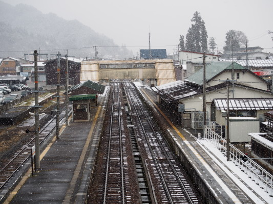 飛騨古川駅。映画のシーンとそっくり!!雪景色ですが。