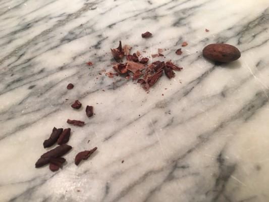 ▲(左から)カカオニブ(チョコの原料)、カカオ豆の殻、カカオ豆