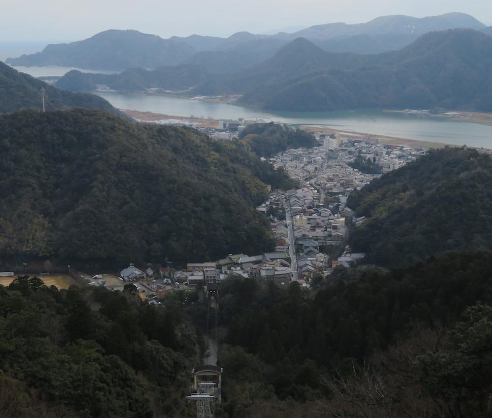 大師山頂から眺めた温泉街。すぐそばを円山川が流れ、その奥に日本海が広がる。自然豊かな温泉地であることが一目でわかる