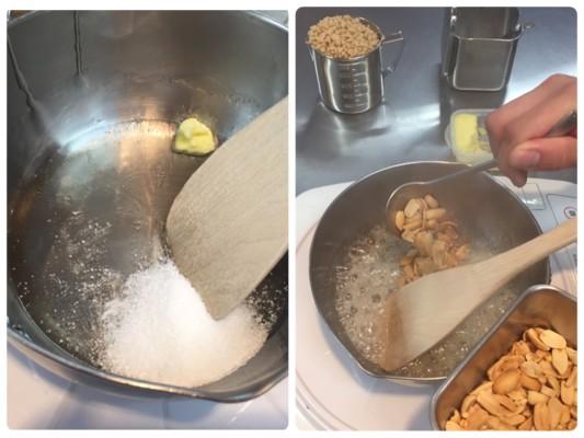 ▲水あめを煮立てる。