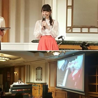 ▲松井咲子さん(上)とコンサートさながらの演奏姿(下)