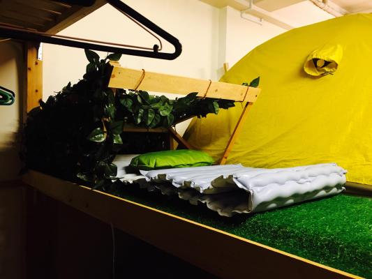 寝袋・マットでキャンプ気分