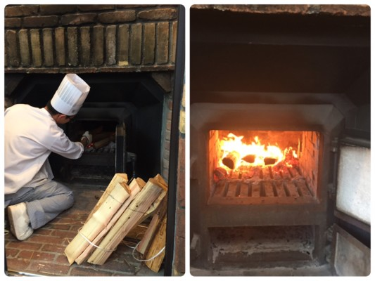 ▲薪で火をおこして焼きます。